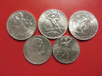 Mince stříbro 5ks 10 kč 50 kč 100 kč Masaryk krásný stav !!! č.1