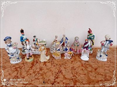 *** Luxusní porcelánová malovaná sbírka barokních sošek 12 kusů ***