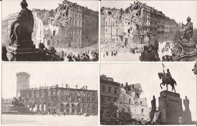 Praha květen 1945 - 19ks , vydal Wanner, sbírka, radnice, vojsko