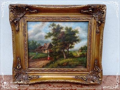 *** Starožitný masivní dřevěný zdobený obraz olejomalba krajina  ***