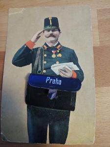 Praha,  pošťák, brašna, leporelo, skládačka