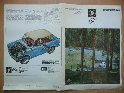 Dobový český skládací prospekt - TRABANT 601 - z roku 1973
