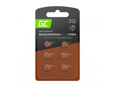 6x Baterie Green Cell pro naslouchátko Typ 312 P312 PR41 ZL3 ZincAir