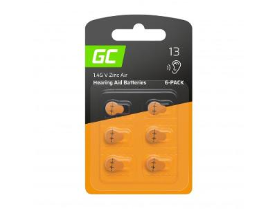 6x Baterie Green Cell pro naslouchátko Typ 13 P13 PR48 ZL2 ZincAir