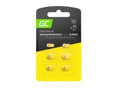 6x Baterie Green Cell pro naslouchátko Type 10 P10 PR70 ZL4 ZincAir