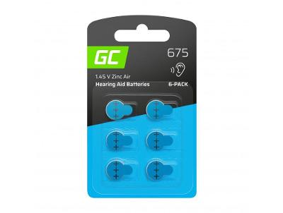 6x Baterie Green Cell pro naslouchátko Typ 675 P675 PR44 ZL1 ZincAir
