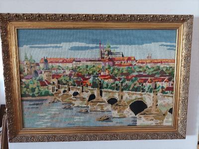 Vyšívaný obraz .Karlův most+hrad