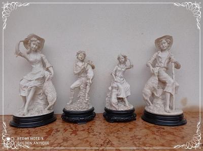 *** Staré zdobené dekorativní sochy na podstavci 4 kusy  ***