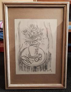 FRANTIŠEK EMLER/1912-1992/- kresba uhlem na papíře