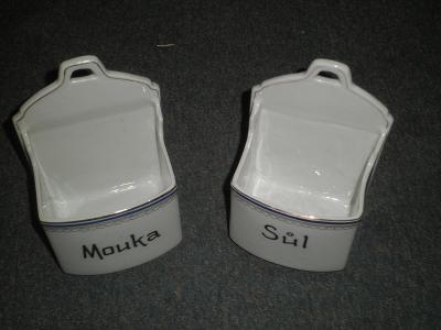stará porcelánová dóza na  mouku a sůl
