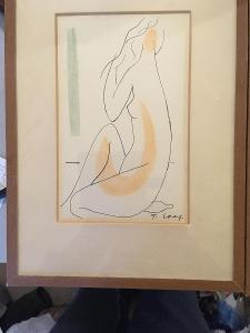 obraz od Františka Volfa signovaný kresba akvarel ženský akt