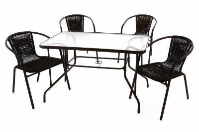 Zahradní polyratanový set - 4 židle a skleně 37023