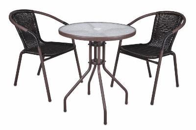 Bistro stolek se skleněnou deskou a 2 židle z 2345