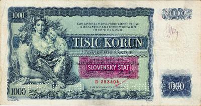 1.ČSR 1000 korun 1934 série D přetisk Slovak štát 1939 perf. SPECIMEN