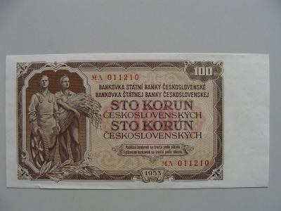 100 Kčs z roku 1953, originál fota, dole natržení 2 mm, jinak krásná