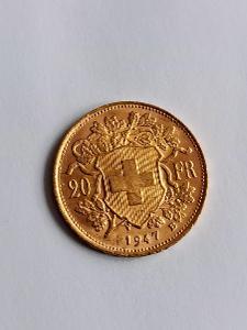 Zlatý krásný 20 frank Švýcarsko HELVETIA 1947 B ❗6.46g 900/1000Au