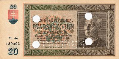 Slovak štát 1939 20 korun serie Yz 46 A Hlinka Perf. SPECIMEN 4x diera