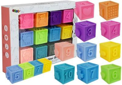 Měkké senzorické hrací kostky zvířátka 12 kusů. Nové.
