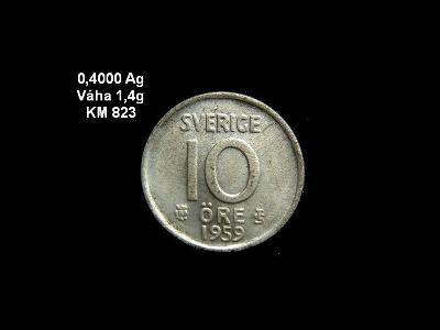 Švédsko - 10 Öre 1959 Ag