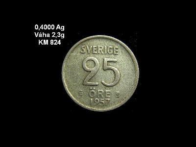 Švédsko - 25 Öre 1957 Ag