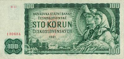 ČSSR 100 korun 1961 serie B 51 Hradčany vzacne