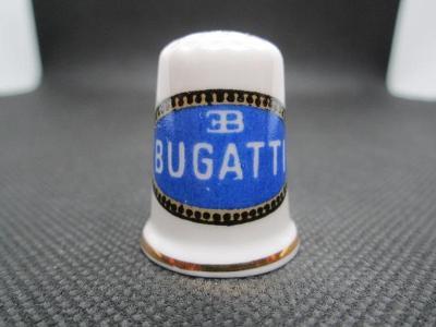 Sběratelský náprstek Reklama - Bugatti, značka francouzských automobil