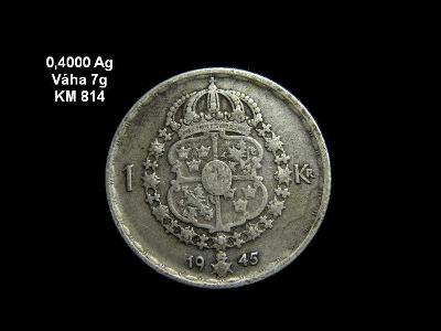 Švédsko - 1 Krona 1945 Ag