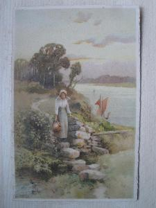 Pohlednice - MF - VESNICKÁ DÍVKA SE DŽBÁNEM * 1927
