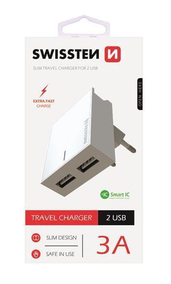 SWISSTEN síťový adaptér Smart IC, CE 2x USB, 3 A, bílá
