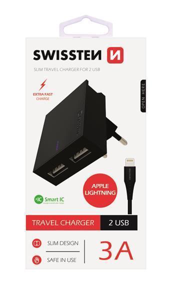 Swissten síťový adaptér Smart IC, 2x USB 3A + datový kabel USB / light
