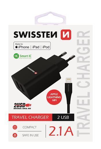 SWISSTEN síťový adaptér Smart IC, CE 2x USB 2,1 A, černá + datový kabe