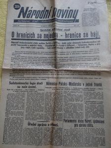NÁRODNÍ NOVINY  ( 21.9. 1938 ) - Předmnichovské události .