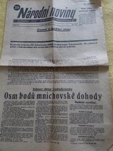 NÁRODNÍ NOVINY ( 1.10. 1938 ) - MNICHOVSKÁ ZRADA .