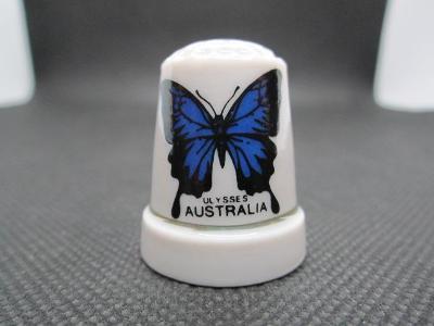 Sběratelský náprstek Austrálie - fauna - motýl Ulysses butterfly