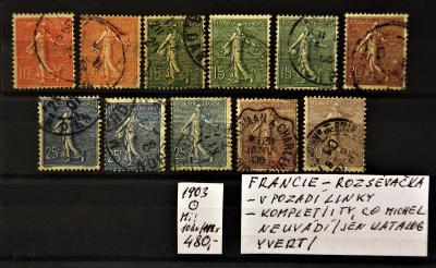 Francie/Rozsévačka/1903/Mi:108x-112x/Yt:129-133a/raz.(popis viz. foto)
