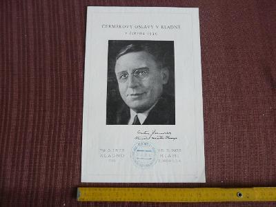 PAMĚTNÍ ARŠÍK S RAZÍTKY ČERMÁKOVY OSLAVY V KLADNĚ 1935