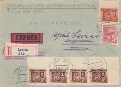 1945 Bratislavské vydanie R + EX list Levice 4-páska 3 Kčs vrátený