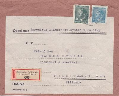 Výstřižek!! R- Bystré, Polička asi 1943 (Svitavy) - Slezská Ostrava.