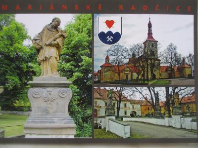 Mariánské Radčice kostel  socha poutní místo MO