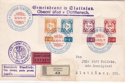 Ex- a R- Slatiňany, příl. a denní razítko 28.6.1941 (Chrudim), v místě