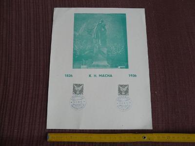 PAMĚTNÍ ARCH S RAZÍTKY OSLAVY K.H.MÁCHY LITOMĚŘICE 1936