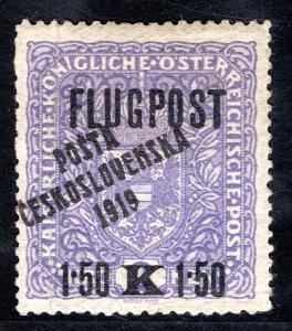 Pč 1919/52, typ II, FLUGPOST, 1,50/2 K fialová, svislý ohyb, /19.68496