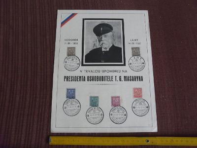 PAMĚTNÍ ARCH S RAZÍTKY SMUTEK ČESKOSLOVENSKA 1937