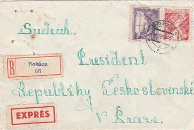 Emise Povolání 1954 3 Kčs + 20 h R + EX dopis na prezidenta republiky