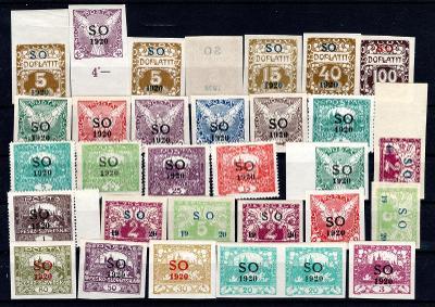So 1920/sestava svěžích známek s přetiskem SO 1920 na destičc/19.66346