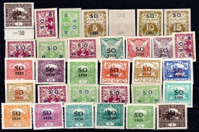 So 1920/sestava svěžích známek s přetiskem SO 1920 na destičc/19.66348