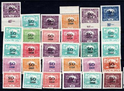 So 1920/sestava svěžích známek s přetiskem SO 1920 na destičc/19.66350