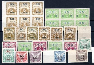 So 1920/sestava svěžích  známek s přetiskem SO 1920 na destič/19.66360