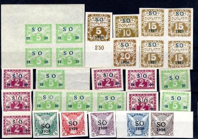 So 1920/sestava svěžích známek s přetiskem SO 1920  na destič/19.67565