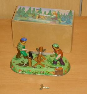 Plechový dřevorubci na klíček